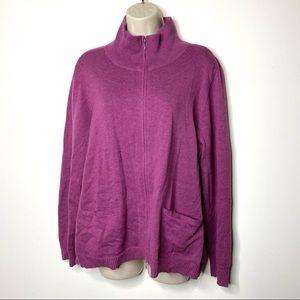Eileen Fisher pink full zip high neck sweater XL